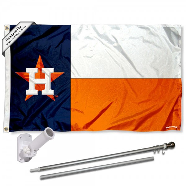 Our Houston Astros Texas State Flag Pole and Bracket Kit includes the flag as shown and the recommended flagpole and flag bracket. The flag is made of polyester, has quad-stitched flyends, and the MLB Licensed team logos are double sided screen printed. The flagpole and bracket are made of rust proof aluminum and includes all hardware so this kit is ready to install and fly.
