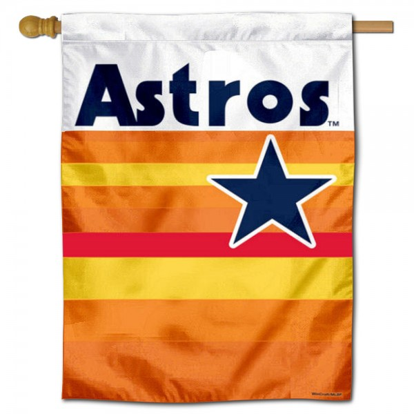 Houston Astros Vintage Double Sided House Flag is screen printed with Houston Astros logos, is made of 2-ply 100% polyester, and is two sided and double sided. Our banners measure 28x40 inches and hang vertically with a top pole sleeve to insert your banner pole or flagpole.