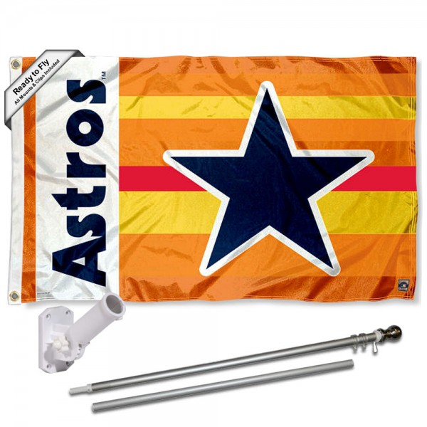 Our Houston Astros Vintage Rainbow Flag Pole and Bracket Kit includes the flag as shown and the recommended flagpole and flag bracket. The flag is made of polyester, has quad-stitched flyends, and the MLB Licensed team logos are double sided screen printed. The flagpole and bracket are made of rust proof aluminum and includes all hardware so this kit is ready to install and fly.