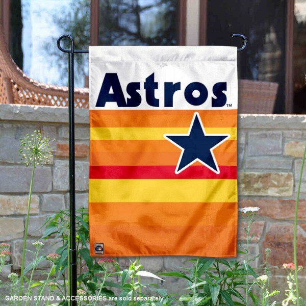 Houston Astros Vintage Stripes Double Sided Garden Flag is 12.5x18 inches in size, is made of 2-ply polyester, and has two sided screen printed logos and lettering. Available with Express Next Day Shipping, our Houston Astros Vintage Stripes Double Sided Garden Flag is MLB Genuine Merchandise and is double sided.