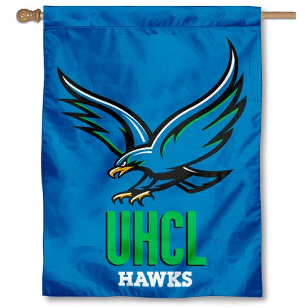 Houston Clear Lake Hawks House Flag is a vertical house flag which measures 30x40 inches, is made of 2 ply 100% polyester, offers screen printed NCAA team insignias, and has a top pole sleeve to hang vertically. Our Houston Clear Lake Hawks House Flag is officially licensed by the selected university and the NCAA.