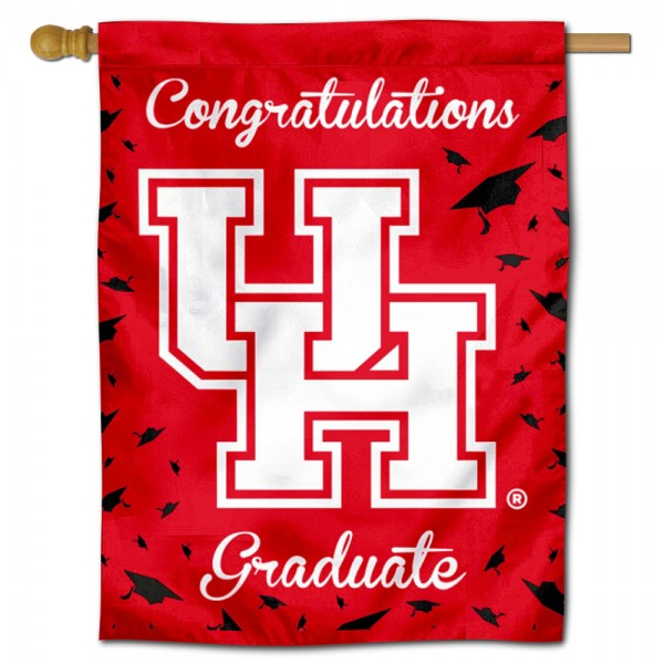 Houston Cougars Congratulations Graduate Flag measures 30x40 inches, is made of poly, has a top hanging sleeve, and offers dye sublimated Houston Cougars logos. This Decorative Houston Cougars Congratulations Graduate House Flag is officially licensed by the NCAA.