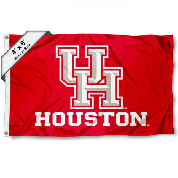 Houston Cougars Large 4x6 Flag measures 4x6 feet, is made thick woven polyester, has quadruple stitched flyends, two metal grommets, and offers screen printed NCAA Houston Cougars Large athletic logos and insignias. Our Houston Cougars Large 4x6 Flag is officially licensed by Houston Cougars and the NCAA.