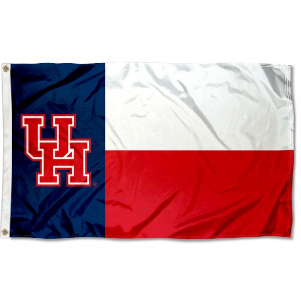 Houston Cougars State of TX Flag measures 3x5 feet, is made of 100% polyester, offers quadruple stitched flyends, has two metal grommets, and offers screen printed NCAA team logos and insignias. Our Houston Cougars State of TX Flag is officially licensed by the selected university and NCAA.