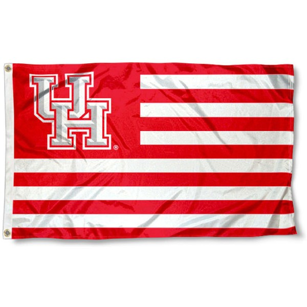 Houston Cougars Stripes Flag measures 3'x5', is made of polyester, offers double stitched flyends for durability, has two metal grommets, and is viewable from both sides with a reverse image on the opposite side. Our Houston Cougars Stripes Flag is officially licensed by the selected school university and the NCAA.
