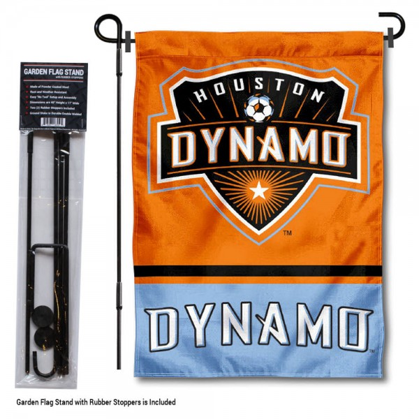 "Houston Dynamo Garden Flag and Flagpole Stand kit includes our 12.5""x18"" garden banner which is made of 2 ply poly with liner and has screen printed licensed logos. Also, a 40""x17"" inch garden flag stand is included so your Houston Dynamo Garden Flag and Flagpole Stand is ready to be displayed with no tools needed for setup. Fast Overnight Shipping is offered and the flag is Officially Licensed and Approved by the selected team."