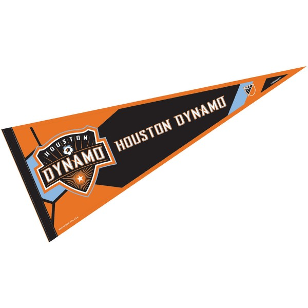 Houston Dynamo Pennant is our Full Size MLS soccer team pennant which measures 12x30 inches, is made of felt, and is single sided screen printed. Our Houston Dynamo Pennant is perfect for showing your MLS team allegiance in any room of the house and is MLS licensed.