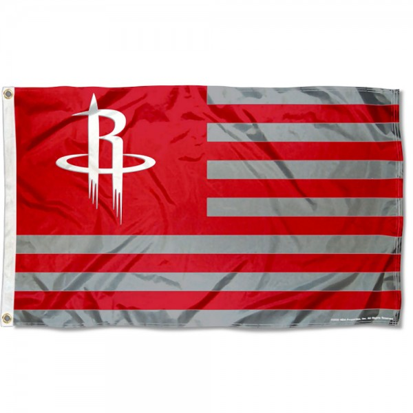 Houston Rockets Americana Stripes Nation Flag measures 3x5 feet, is made of polyester, offers quad-stitched flyends, has two metal grommets, and is viewable from both sides with a reverse image on the opposite side. Our Houston Rockets Americana Stripes Nation Flag is Genuine NBA Merchandise.