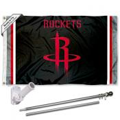 Houston Rockets Black Flag Pole and Bracket Kit