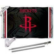 Houston Rockets Black Flag Pole and Bracket Kit