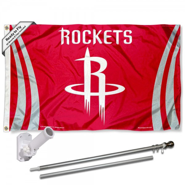 Our Houston Rockets Flag Pole and Bracket Kit includes the flag as shown and the recommended flagpole and flag bracket. The flag is made of polyester, has quad-stitched flyends, and the NBA Licensed team logos are double sided screen printed. The flagpole and bracket are made of rust proof aluminum and includes all hardware so this kit is ready to install and fly.
