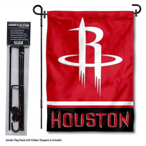 "Houston Rockets Garden Flag and Stand kit includes our 12.5""x18"" garden banner which is made of 2 ply poly with liner and has screen printed licensed logos. Also, a 40""x17"" inch garden flag stand is included so your Houston Rockets Garden Flag and Stand is ready to be displayed with no tools needed for setup. Fast Overnight Shipping is offered and the flag is Officially Licensed and Approved by the selected team."