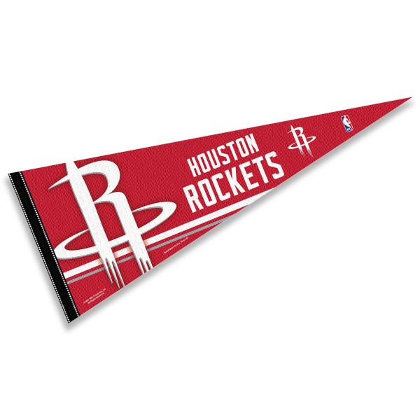 This Houston Rockets Pennant measures 12x30 inches, is constructed of felt, and is single sided screen printed with the Houston Rockets logo and insignia. Each Houston Rockets Pennant is a NBA Officially Licensed product.