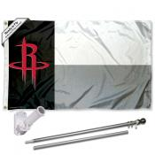 Houston Rockets Texas State Flag Pole and Bracket Kit