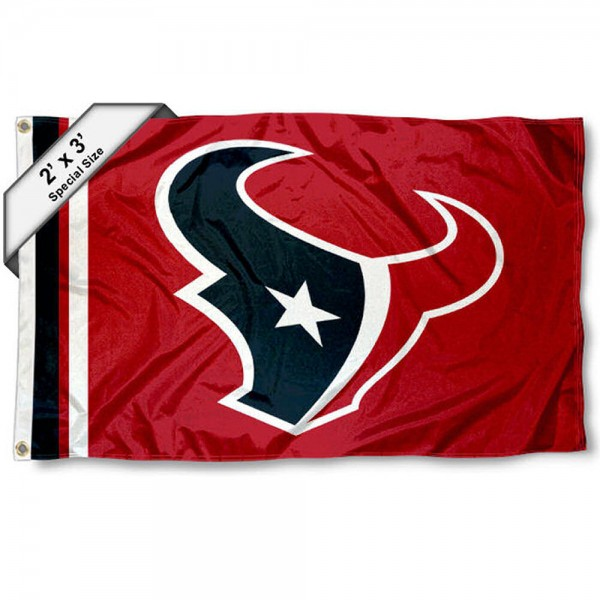 Houston Texans 2x3 Feet Flag measures 2'x3', is made polyester, has quadruple stitched flyends, two metal grommets, and offers screen printed NFL Houston Texans logos and insignias. Our Houston Texans 2x3 Foot Flag is NFL Officially Licensed and approved.