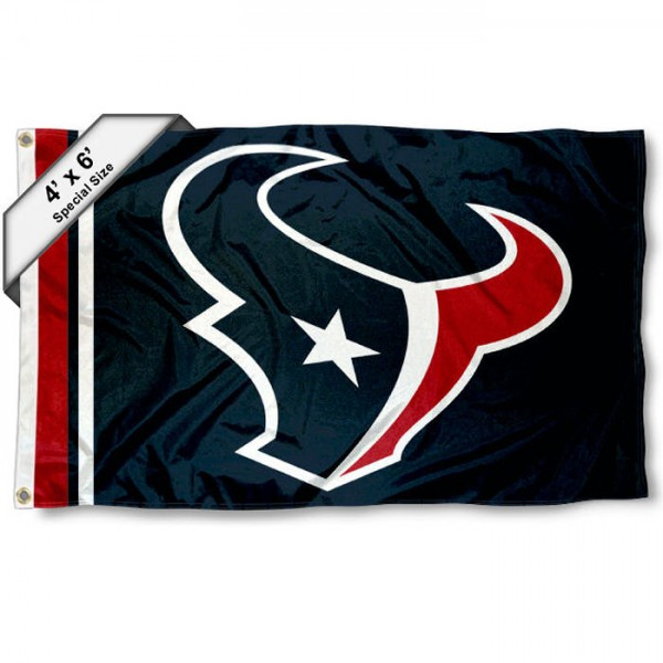Houston Texans 4x6 Flag measures a large 4x6 feet, is made polyester, has quadruple stitched flyends, two metal grommets, and offers screen printed NFL Houston Texans logos and insignias. Our Houston Texans 4x6 Foot Flag is NFL Officially Licensed and Houston Texans approved.