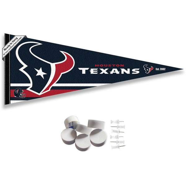 This Houston Texans Banner Pennant with Tack Wall Pads is 12x30 inches, is made of premium felt blends, has a pennant stick sleeve, and the team logos are single sided screen printed. Our Houston Texans Banner Pennant Flag is NFL Officially Licensed and include our 6 pack of wall adhesive pads and tacks.