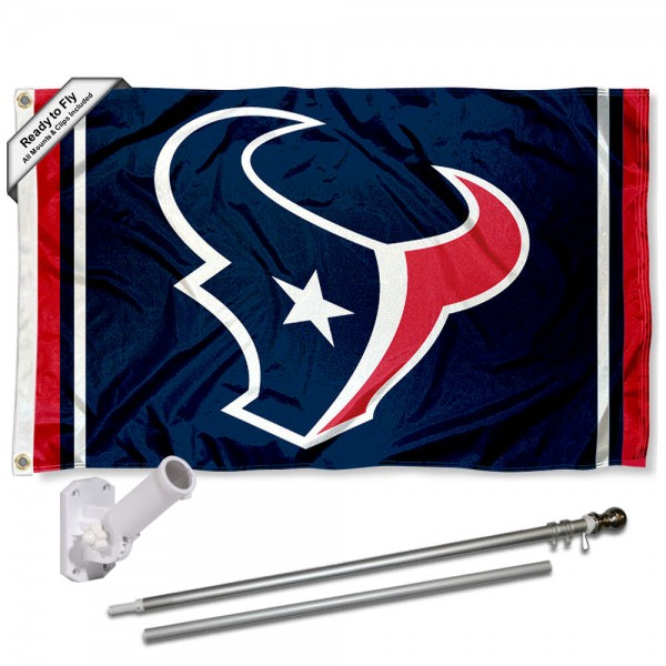 Our Houston Texans Flag Pole and Bracket Kit includes the flag as shown and the recommended flagpole and flag bracket. The flag is made of polyester, has quad-stitched flyends, and the NFL Licensed team logos are double sided screen printed. The flagpole and bracket are made of rust proof aluminum and includes all hardware so this kit is ready to install and fly.