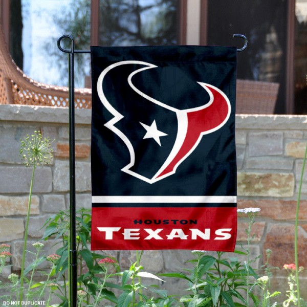 Houston Texans Garden Flag is 12.5x18 inches in size, is made of 2-ply polyester, and has two sided screen printed logos and lettering. Available with Express Next Day Ship, our Houston Texans Garden Flag is NFL Officially Licensed and is double sided.