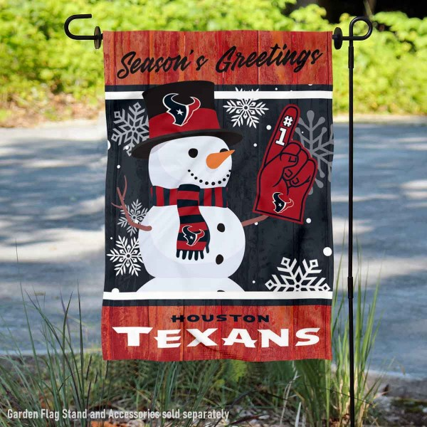 Houston Texans Holiday Winter Snow Double Sided Garden Flag is 12.5x18 inches in size, is made of 2-ply polyester, and has two sided screen printed logos and lettering. Available with Express Next Day Ship, our Houston Texans Holiday Winter Snow Double Sided Garden Flag is NFL Officially Licensed and is double sided.