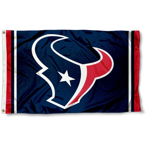Our Houston Texans Logo Flag is double sided, made of poly, 3'x5', has two metal grommets, indoor or outdoor, and four-stitched fly ends. These Houston Texans Logo Flags are Officially Licensed by the NFL.