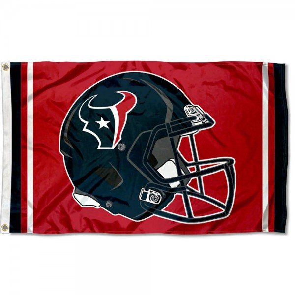 Our Houston Texans New Helmet Flag is two sided, made of poly, 3'x5', Overnight Shipping, has two metal grommets, indoor or outdoor, and four-stitched fly ends. These Houston Texans New Helmet Flags are Officially Approved by the Houston Texans.