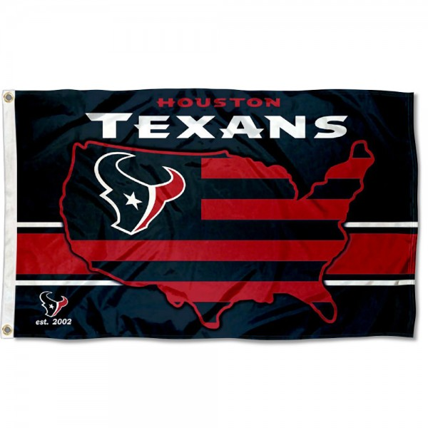 Our Houston Texans USA Country Flag is double sided, made of poly, 3'x5', has two metal grommets, indoor or outdoor, and four-stitched fly ends. These Houston Texans USA Country Flags are Officially Approved by the Houston Texans.