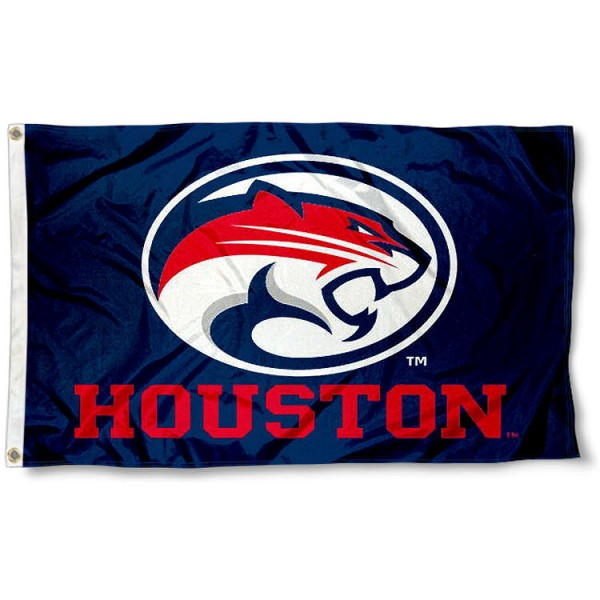 Houston UH Cougars Flag measures 3'x5', is made of 100% poly, has quadruple stitched sewing, two metal grommets, and has double sided Houston University logos. Our Houston UH Cougars Flag is officially licensed by the selected university and the NCAA