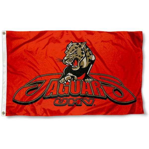 Houston Victoria Jaguars Flag measures 3x5 feet, is made of 100% polyester, offers quadruple stitched flyends, has two metal grommets, and offers screen printed NCAA team logos and insignias. Our Houston Victoria Jaguars Flag is officially licensed by the selected university and NCAA.