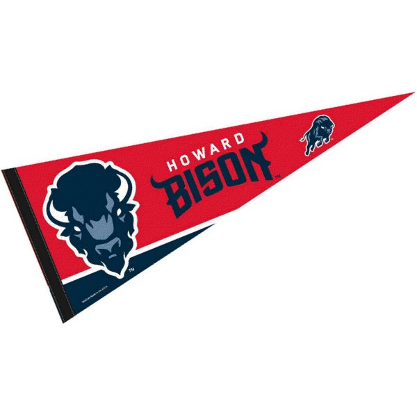 Howard University Wordmark Pennant consists of our full size pennant which measures 12x30 inches, is constructed of felt, single sided imprinted, and offers a pennant sleeve for insertion of a pennant stick, if desired. These Howard University Wordmark Pennant are Officially Licensed by the selected University and the NCAA.