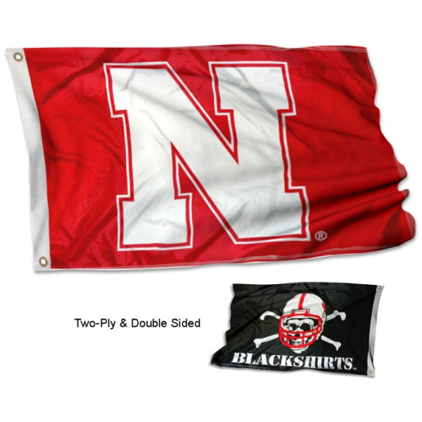Huskers and Blackshirts Double Logo Flag measures 3x5, is made thick 100% polyester, has two stitched flyends for durability, and is readable correctly on both sides. Our Huskers and Blackshirts Double Logo Flag is officially licensed by the university, school, and the NCAA.