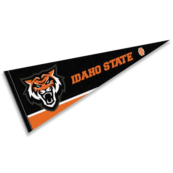 Idaho State Bengals Pennant Decorations consists of our full size pennant which measures 12x30 inches, is constructed of felt, is single sided imprinted, and offers a pennant sleeve for insertion of a pennant stick, if desired. This Idaho State Bengals Pennant Decorations is officially licensed by the selected university and the NCAA.