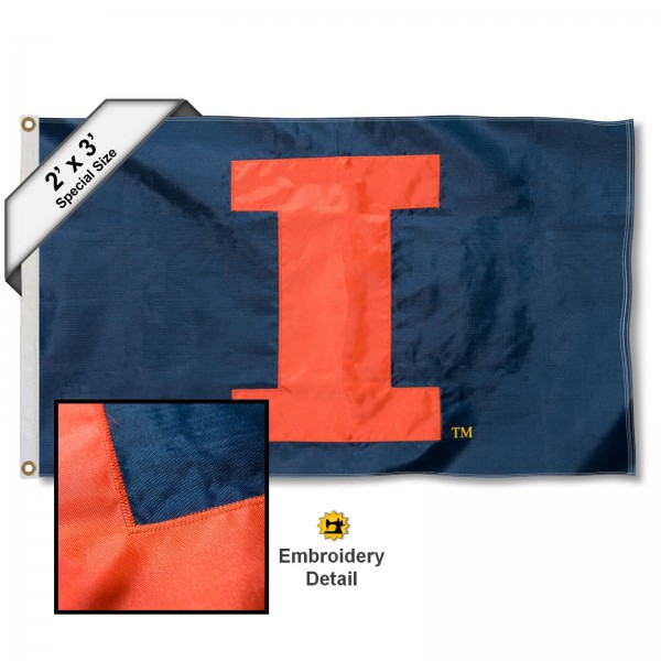 Illini Big I Small 2'x3' Flag measures 2x3 feet, is made of 100% nylon, offers quadruple stitched flyends, has two brass grommets, and offers embroidered Illini Big I logos, letters, and insignias. Our Illini Big I Small 2'x3' Flag is Officially Licensed by the selected university.