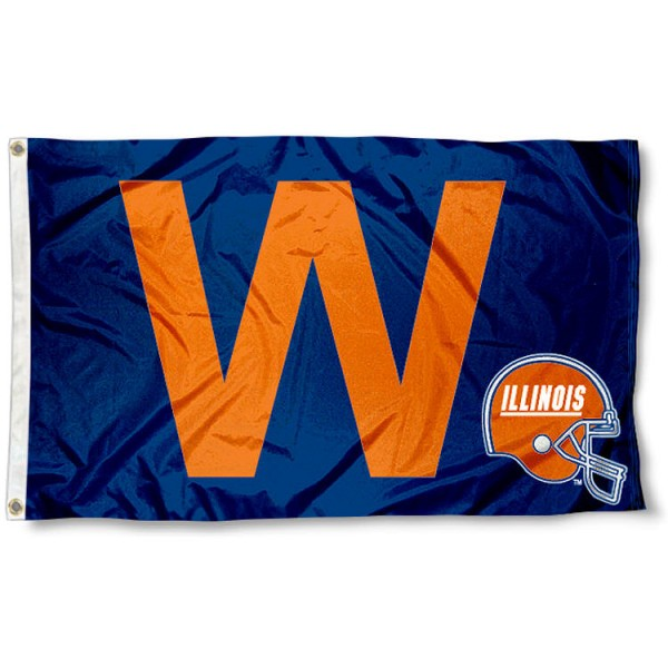 Illini Football Win Flag measures 3'x5', is made of 100% poly, has quadruple stitched sewing, two metal grommets, and has double sided University of Illinois logos and lettering. Our Illini Football Win Flag is officially licensed by the selected university and the NCAA.
