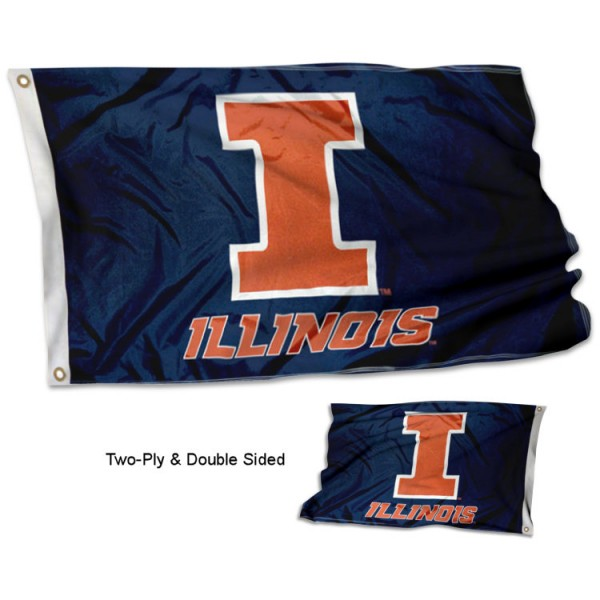 Illinois Fighting Illini Blue Double Sided Flag measures 3'x5', is made of 2 layer 100% polyester, has quadruple stitched flyends for durability, and is readable correctly on both sides. Our Illinois Fighting Illini Blue Double Sided Flag is officially licensed by the university, school, and the NCAA.