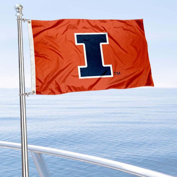 Illinois Fighting Illini Boat and Mini Flag is 12x18 inches, polyester, offers quadruple stitched flyends for durability, has two metal grommets, and is double sided. Our mini flags for University of Illinois are licensed by the university and NCAA and can be used as a boat flag, motorcycle flag, golf cart flag, or ATV flag.