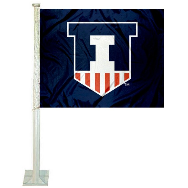 Illinois Fighting Illini Car Window Flag measures 12x15 inches, is constructed of sturdy 2 ply polyester, and has screen printed school logos which are readable and viewable correctly on both sides. Illinois Fighting Illini Car Window Flag is officially licensed by the NCAA and selected university.