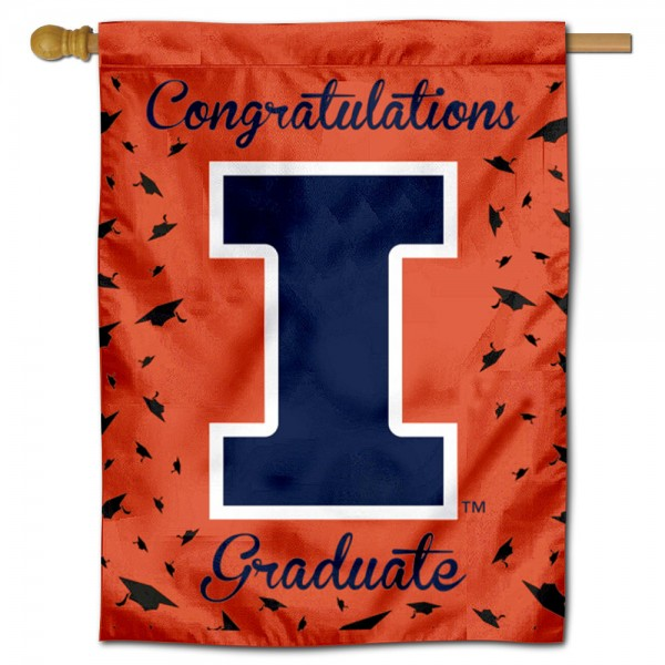 Illinois Fighting Illini Congratulations Graduate Flag measures 30x40 inches, is made of poly, has a top hanging sleeve, and offers dye sublimated Illinois Fighting Illini logos. This Decorative Illinois Fighting Illini Congratulations Graduate House Flag is officially licensed by the NCAA.
