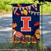 Illinois Fighting Illini Fall Football Autumn Leaves Decorative Garden Flag