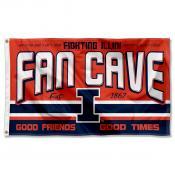 Illinois Fighting Illini Fan Man Cave Game Room Banner Flag