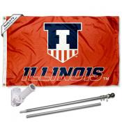 Illinois Fighting Illini Flag Pole and Bracket Kit