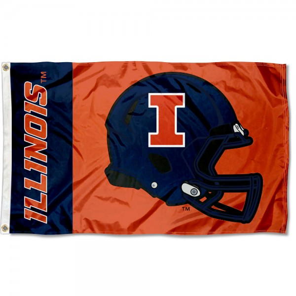 Illinois Fighting Illini Football Helmet Flag measures 3x5 feet, is made of 100% polyester, offers quadruple stitched flyends, has two metal grommets, and offers screen printed NCAA team logos and insignias. Our Illinois Fighting Illini Football Helmet Flag is officially licensed by the selected university and NCAA.