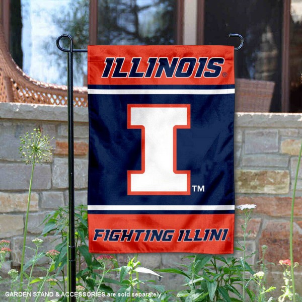Illinois Fighting Illini Garden Flag is 13x18 inches in size, is made of 2-layer polyester, screen printed logos and lettering. Available with Same Day Express Shipping, Our Illinois Fighting Illini Garden Flag is officially licensed and approved by the NCAA.