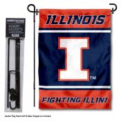 Illinois Fighting Illini Garden Flag and Pole Stand Holder