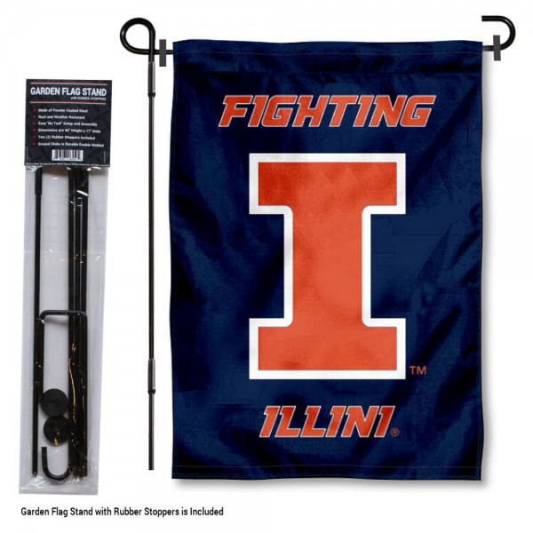 "Illinois Fighting Illini Garden Flag and Stand kit includes our 13""x18"" garden banner which is made of 2 ply poly with liner and has screen printed licensed logos. Also, a 40""x17"" inch garden flag stand is included so your Illinois Fighting Illini Garden Flag and Stand is ready to be displayed with no tools needed for setup. Fast Overnight Shipping is offered and the flag is Officially Licensed and Approved by the selected team."