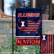 Illinois Fighting Illini Garden Flag with USA Country Stars and Stripes