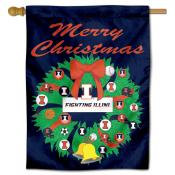 Illinois Fighting Illini Happy Holidays Banner Flag
