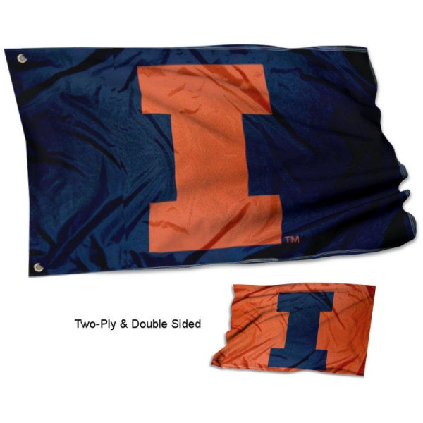 """Illinois Fighting Illini """"I"""" Double Sided Flag measures 3x5, is made thick 100% polyester, has two stitched flyends for durability, and is readable correctly on both sides. Our Illinois Fighting Illini """"I"""" Double Sided Flag is officially licensed by the university, school, and the NCAA."""