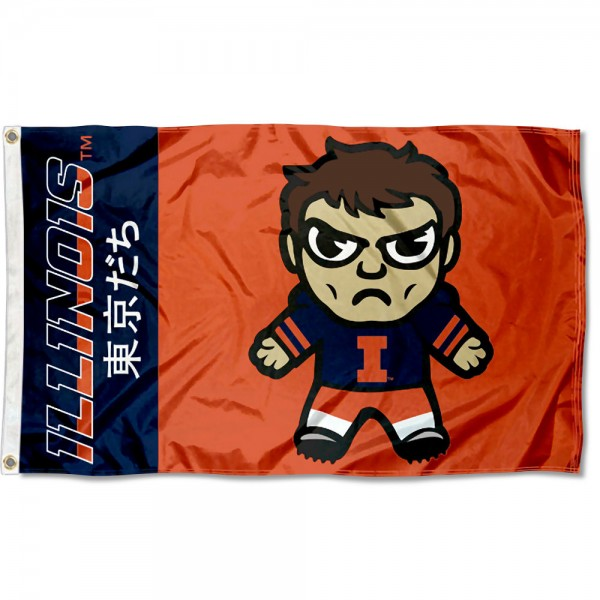 Illinois Fighting Illini Kawaii Tokyo Dachi Yuru Kyara Flag measures 3x5 feet, is made of 100% polyester, offers quadruple stitched flyends, has two metal grommets, and offers screen printed NCAA team logos and insignias. Our Illinois Fighting Illini Kawaii Tokyo Dachi Yuru Kyara Flag is officially licensed by the selected university and NCAA.