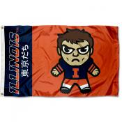 Illinois Fighting Illini Kawaii Tokyodachi Yuru Kyara Flag